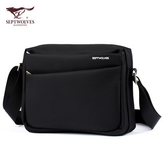 New product horizontal men's seven wolves men's bag casual fashion Oxford cloth waterproof one-shoulder messenger cloth bag can put ipad