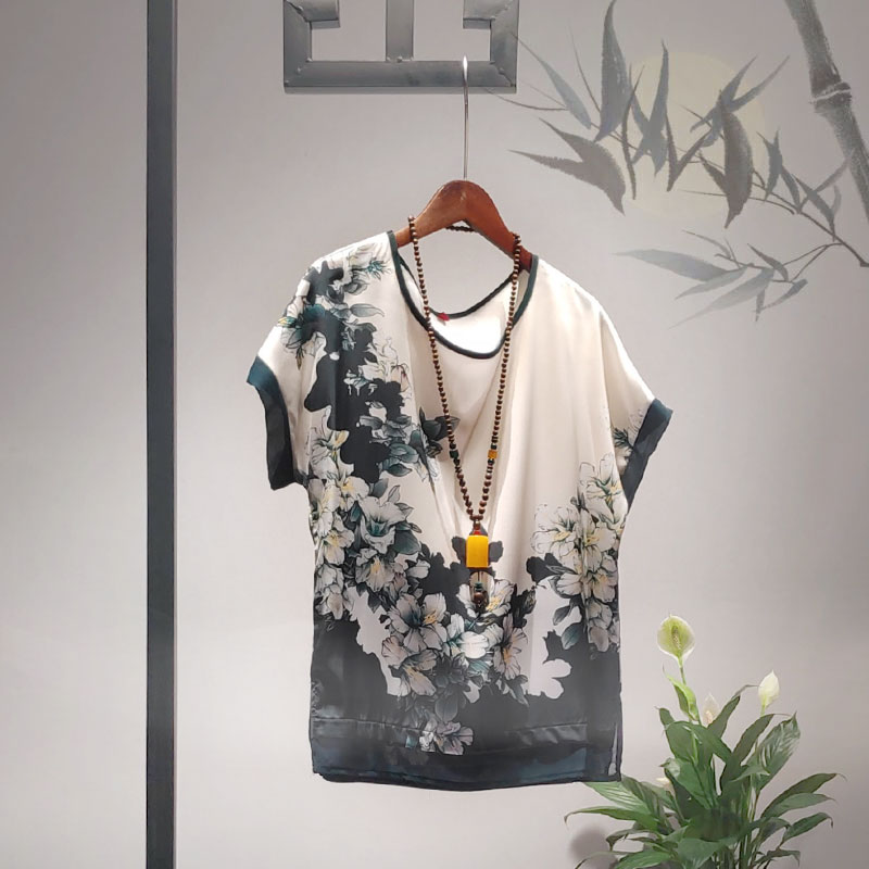 雪纺春装奶奶中老年小衫T恤2021新款夏装件套妈妈两短袖装上衣服