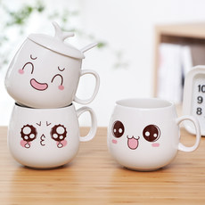Cartoon cute cup ceramic with lid spoon mug coffee milk cup couple water cup creative female student