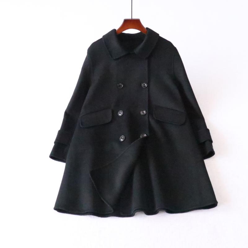 秋冬新品女双排扣双面羊毛呢大衣小个中长宽鬆休閒呢子外套反季详细照片