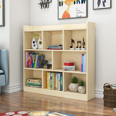 Solid wood children's pine bookcase varnish student classroom storage cabinet locker free combination bookcase