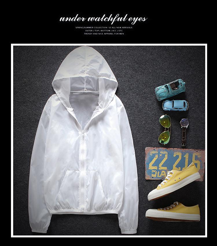 2018 mùa hè màu rắn thể thao giản dị trùm đầu áo khoác người đàn ông Hàn Quốc của chiếc áo khoác mỏng vài phần mỏng quần áo chống nắng triều