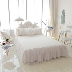 Korean summer bed skirt one-piece white princess bedspread pure cotton cotton bed linen skirt three-piece custom without bed end