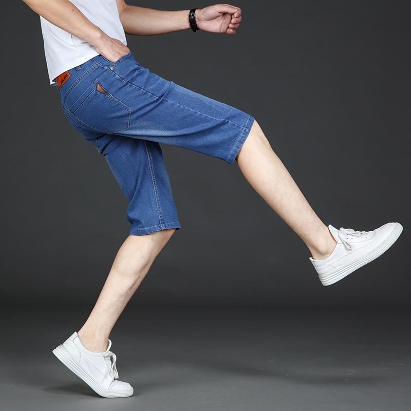 高弹力牛仔短裤男士七分裤学生中裤