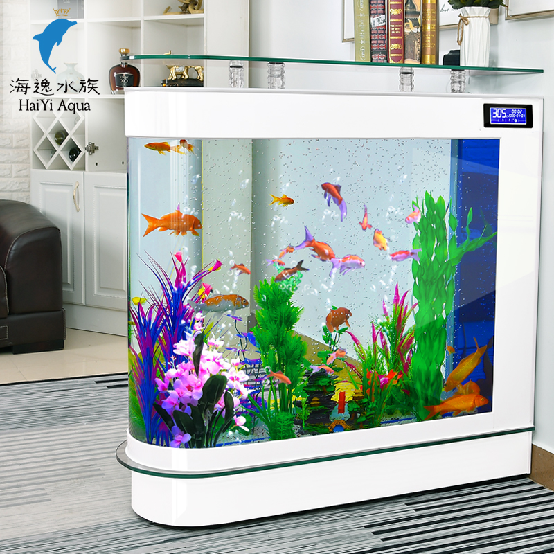 子弹头鱼缸客厅家用中型水族箱玻璃1.2米1.5米生态落地屏风鱼缸