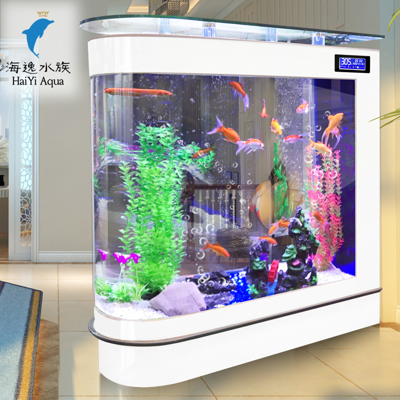 Bullet fish tank living room home medium aquarium glass 1 for Floor fish tank