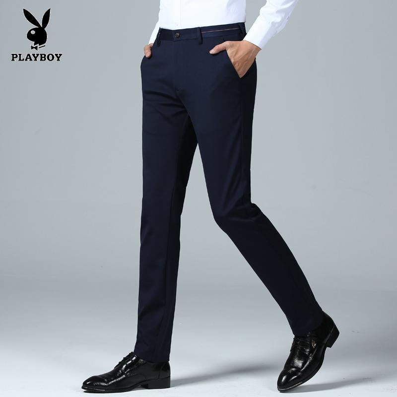 花花公子裤子男冬季男士长裤商务休闲裤新款韩版时尚修身直筒裤子