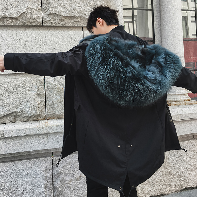 Fox fur grass bold fur all-in-one pie overcomes men's mid-length coat 2019 winter tide brand coat
