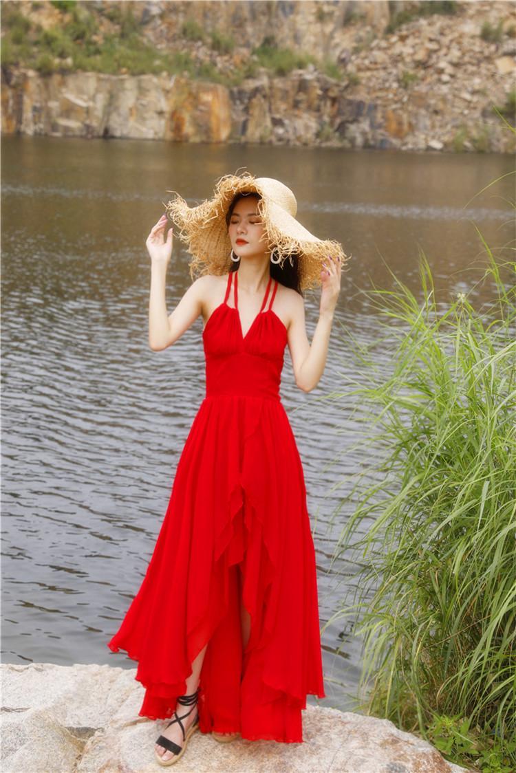 巴釐岛修身沙滩裙夏超仙挂颈吊带露背洋装三亚度假拖地长裙详细照片