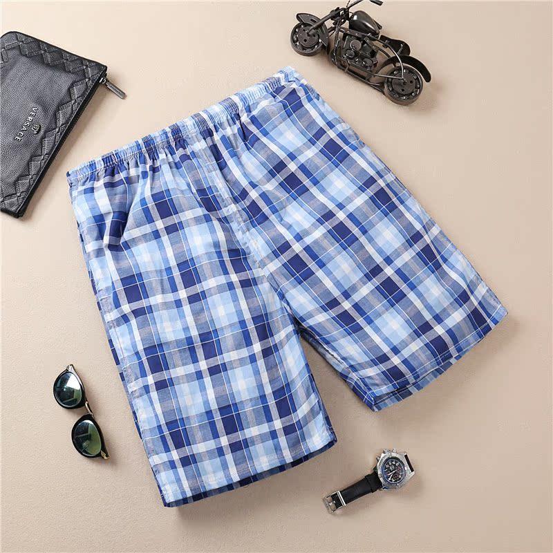 Mùa hè bông nhà quần short kẻ sọc người đàn ông nhà quần 5 điểm quần kỳ nghỉ spa du lịch quần âu người đàn ông