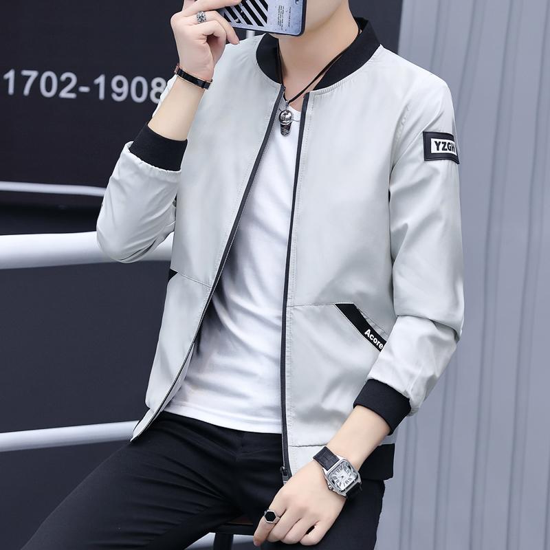 韩版外套男春秋装潮流修身运动休闲连帽夹克男士帅气青少年学生装
