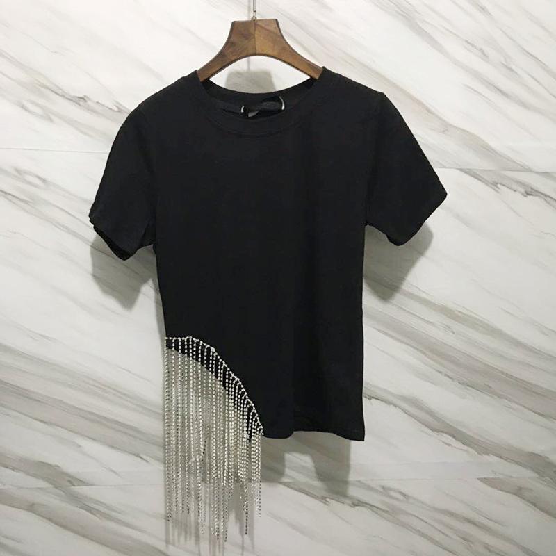 Мелкий алмаз кисточка T футболки куртка женщины летний костюм европейские станции 2019 новый темперамент сексуальный дикий 3G 589741913493