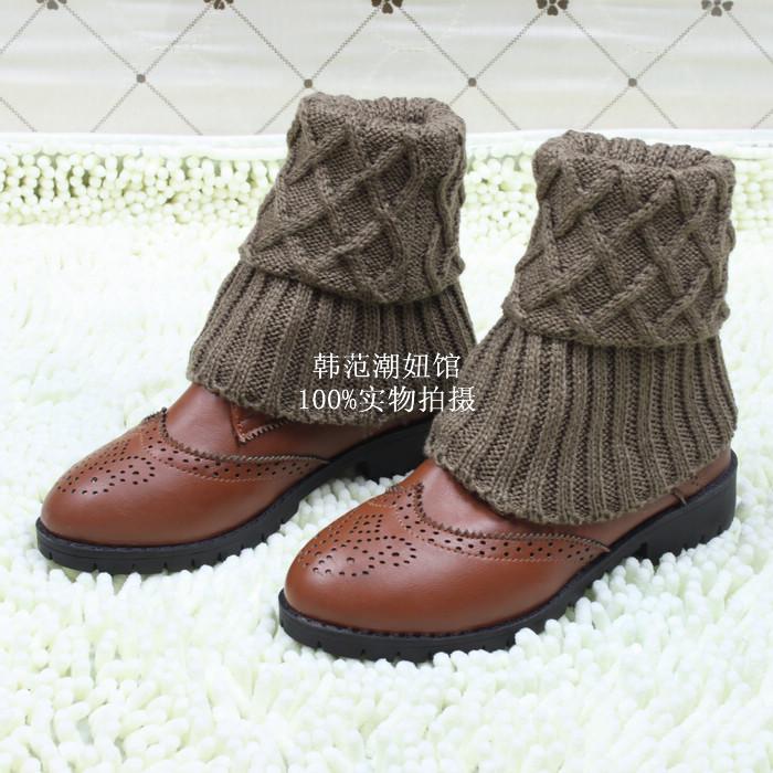 韩国纯棉袜子女短袜秋冬季卷边女袜帖彩色纯色堆堆袜潮短靴袜套
