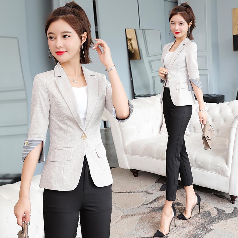 实拍西装外套女韩版职业学生装小西装麻棉七分袖修身显瘦春秋款