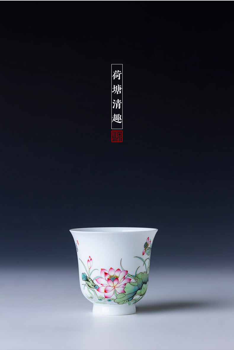 St the ceramic kung fu tea master cup sample tea cup jingdezhen manual pure hand draw pastel lotus tea cup