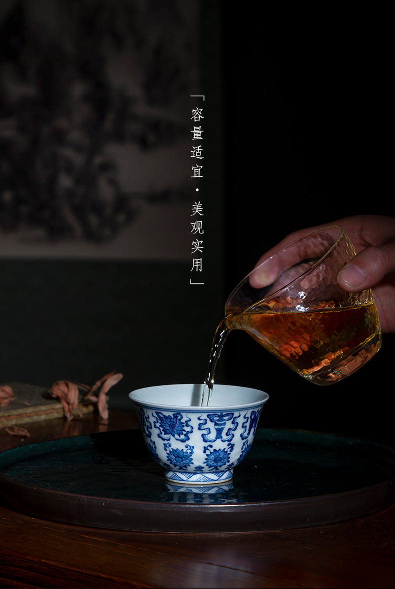 Santa teacups hand - made archaize ceramic kung fu the qing Hualien sweet grain and master cup all hand of jingdezhen tea service