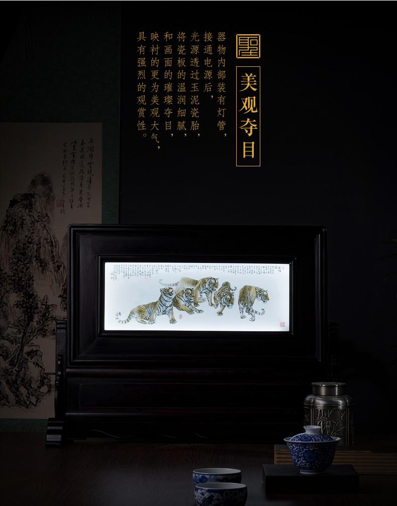 The big new see colour wufu ceramics ebony figure thin foetus plaque jingdezhen porcelain plate teahouse furnishing articles desktop small screen
