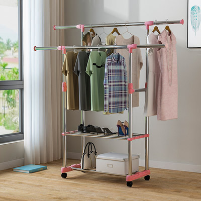 Simple clothes rack floor small double folding indoor telescopic household bedroom clothes hanger balcony hanger