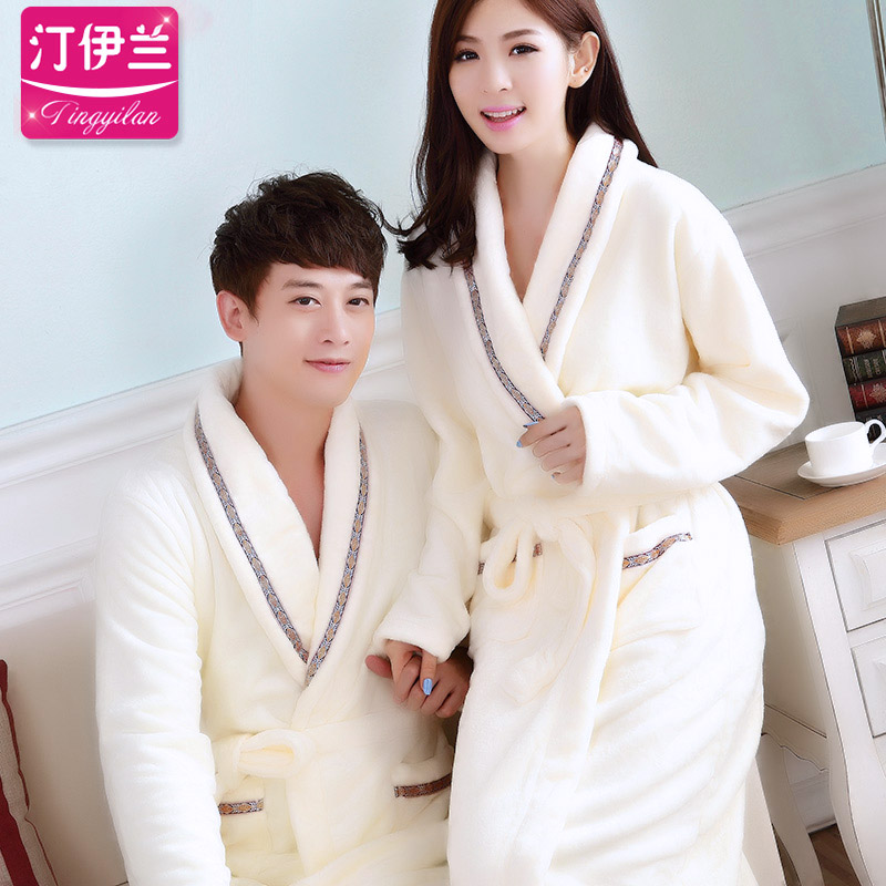 Home service robe couple autumn and winter thick flannel long-sleeved  bathrobe men and women coral velvet pajamas bathrobe bb751976d