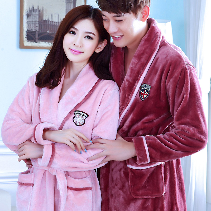 Couple nightgown men and women thick flannel coral fleece hooded home  service pajamas long-sleeved autumn and winter bathrobe bathrobe ef5ec0512