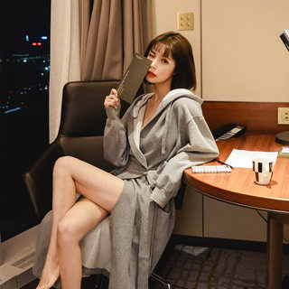 Sexy long network red nightgown female couple bathrobe male personality tide pajamas autumn and winter cotton INS Korean version of spring and summer