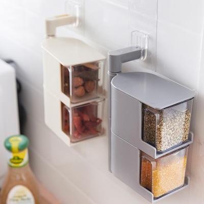 LH日本创意免打孔壁挂旋转调味盒厨房调料置物架盐味罐调味收纳盒