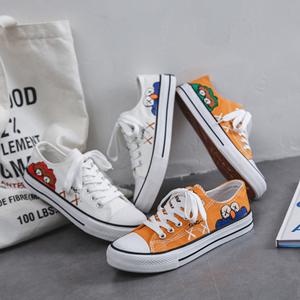 2020新款手绘涂鸦帆布鞋女学生韩版新款小脏橘港风小白潮鞋板鞋