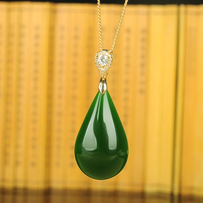 挂件吊坠女款925银镶嵌和田玉项链吊坠水滴碧玉玉石