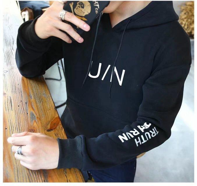 M-3XL好质量不起球男式连帽UN卫衣青年韩版休闲加绒字母卫衣Y33