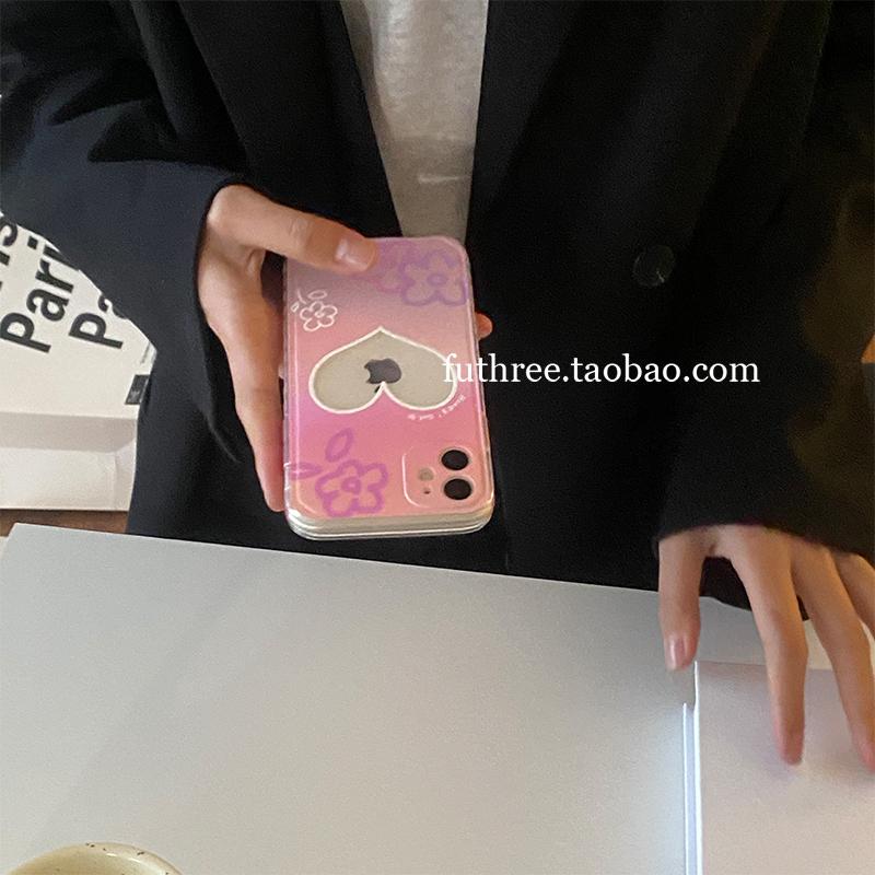 MAKEAfree手機殼 FUTHREE夢幻紫粉小花愛心相框直邊手機殼適用iPhone12軟78p蘋果XR