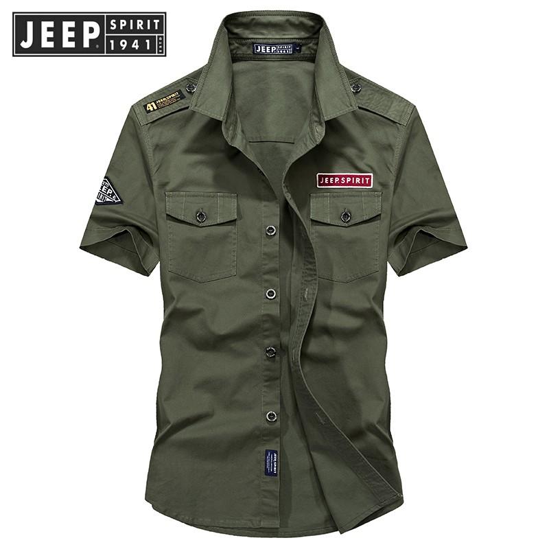 JEEP夏季衬衫衬衣短袖大码v衬衫上衣肩章军旅大码薄款青年男士纯棉