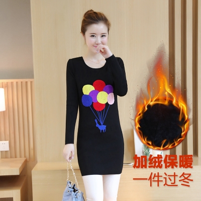 14-15-16-17 year-old girl winter wear junior high school students add velvet thick long bottoming shirt sweater