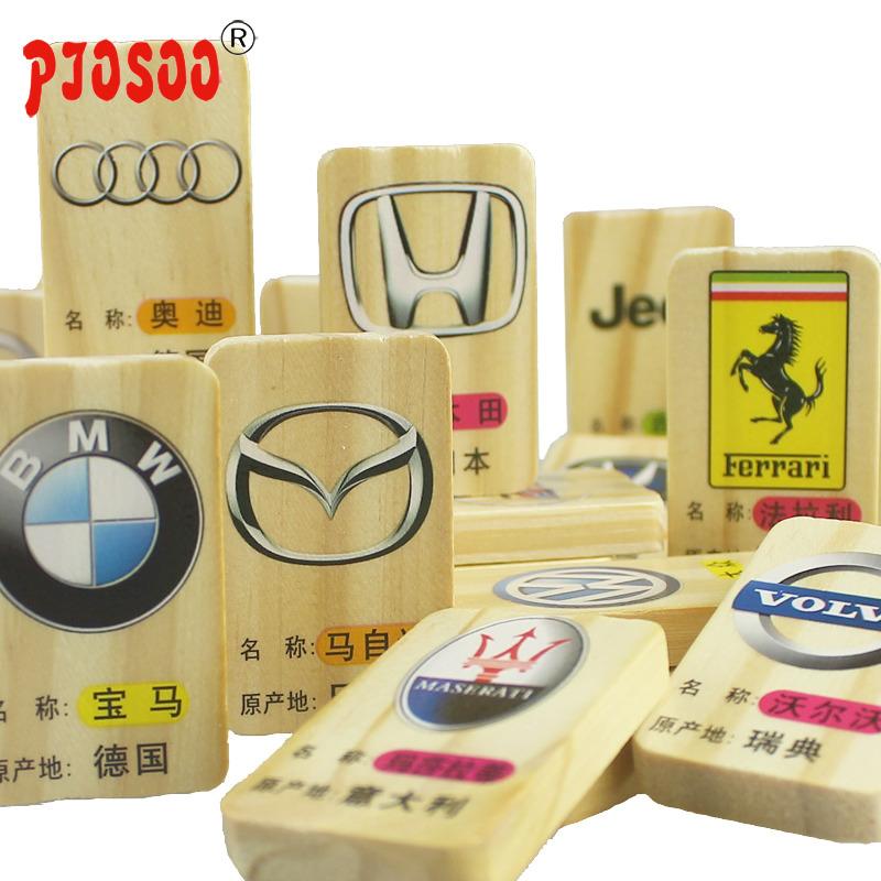 Lớn organino trẻ em giáo dục đồ chơi bằng gỗ cậu bé nhận thức xe logo daquan khối