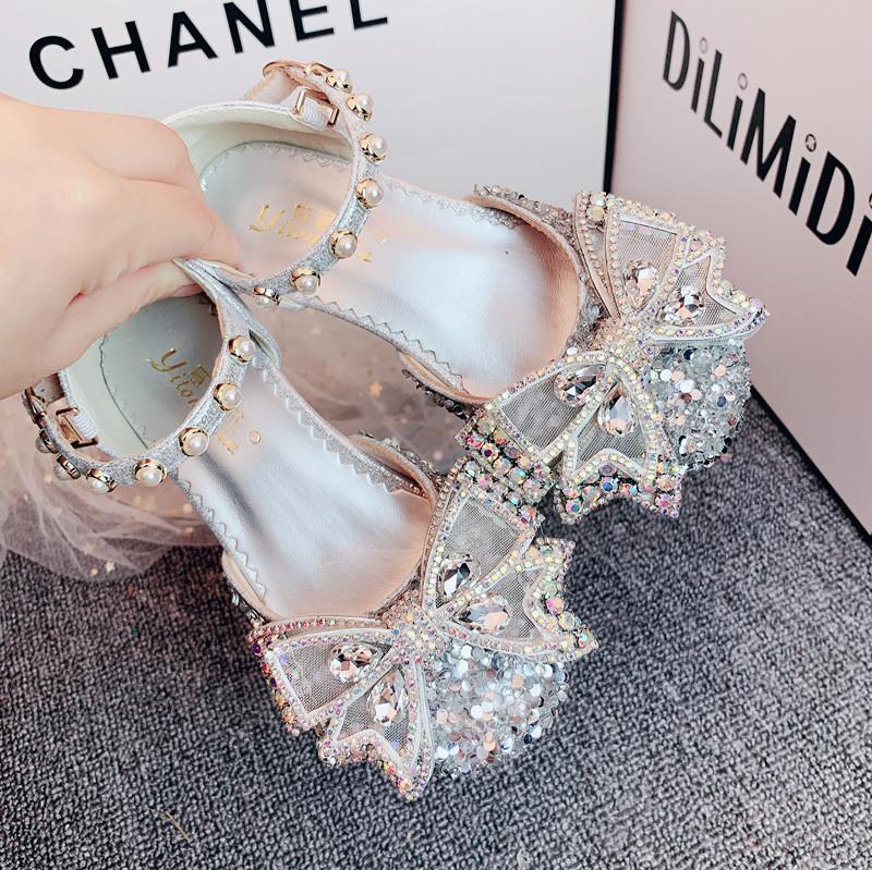 女童春秋2020夏季新款女孩童鞋蝴蝶结凉鞋鞋公主儿童高跟单鞋水钻