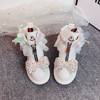 Children's boots 2020 autumn and winter new plus velvet rhinestone bow British style girls Martin boots girls short boots leather