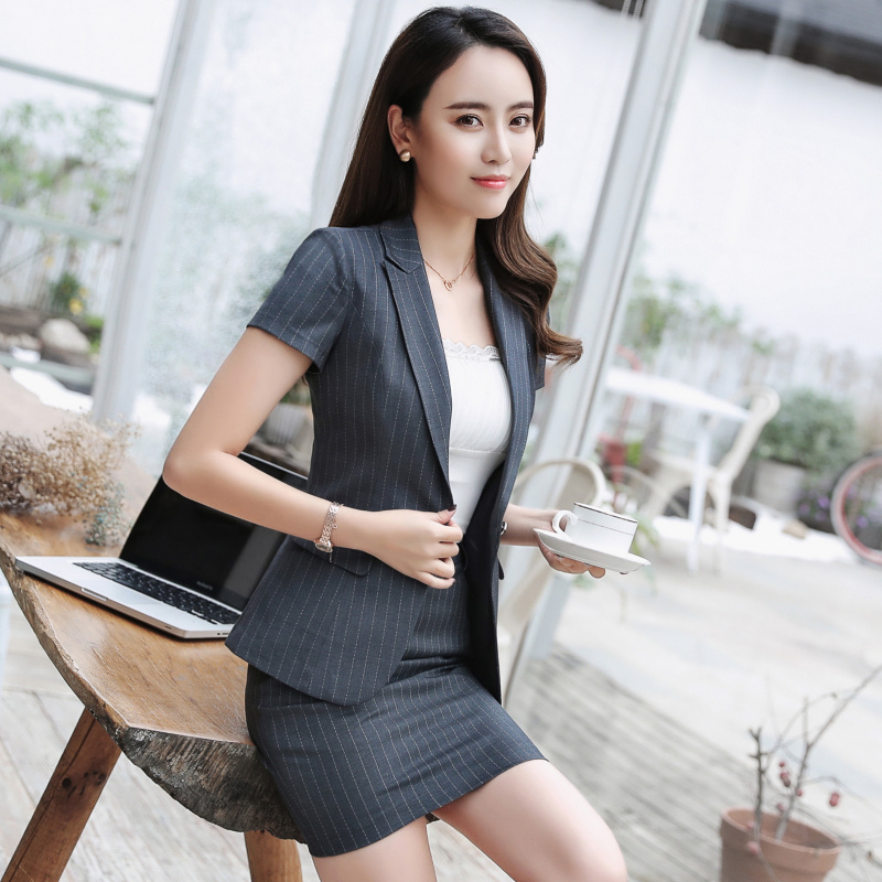 1adf99e55b 2019 summer professional dress suit fashion striped short-sleeved suit ...