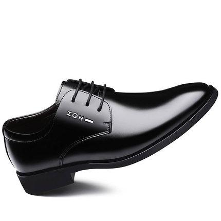 冬季单鞋男鞋韩版英伦黑色潮鞋子休闲商务正装皮鞋男士尖头平跟鞋