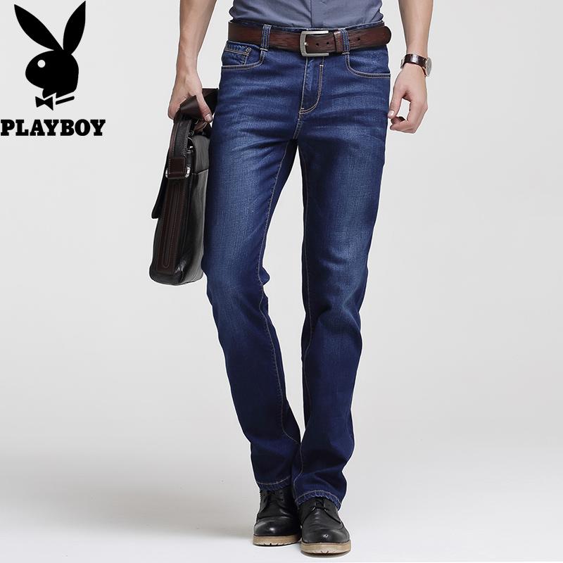 Playboy джинсы мужчина тонкий летний тонкий обтягивающий молодежь мужской прямо случайный свободный брюки брюки