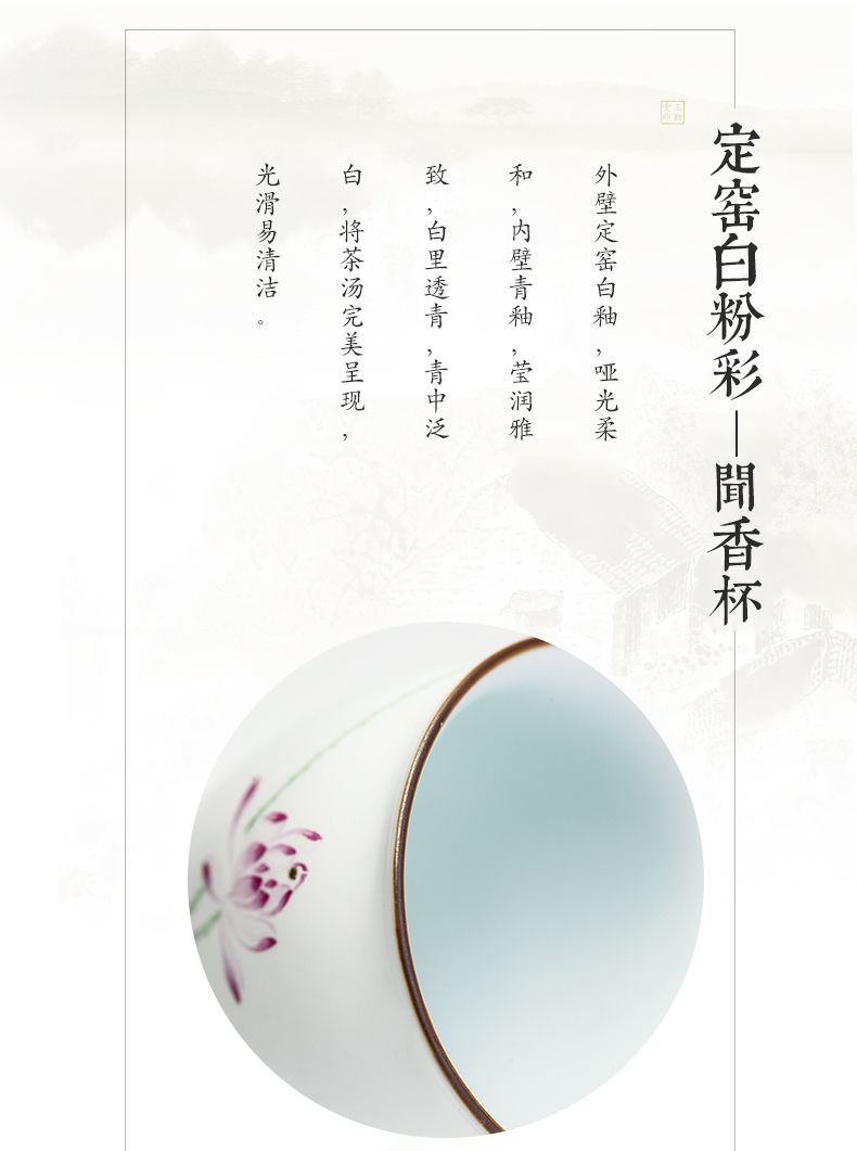 The three frequently hand - made ceramic cups sample tea cup jingdezhen kung fu tea set single CPU master cup S42027 fragrance - smelling cup