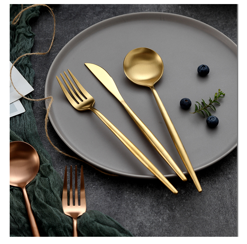 Onlycook top grade 304 stainless steel cutlery set continental food tableware household steak knife and fork spoon, gold