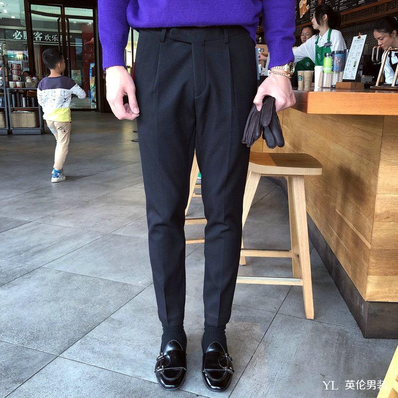 Mùa đông dày cộng với quần nhung nam quần mỏng Anh quần Hàn Quốc quần nam chân quần xu hướng quần nam - Quần