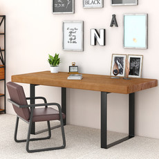 Nordic wrought iron wood desk desk computer desk home desk workbench solid legs can be customized