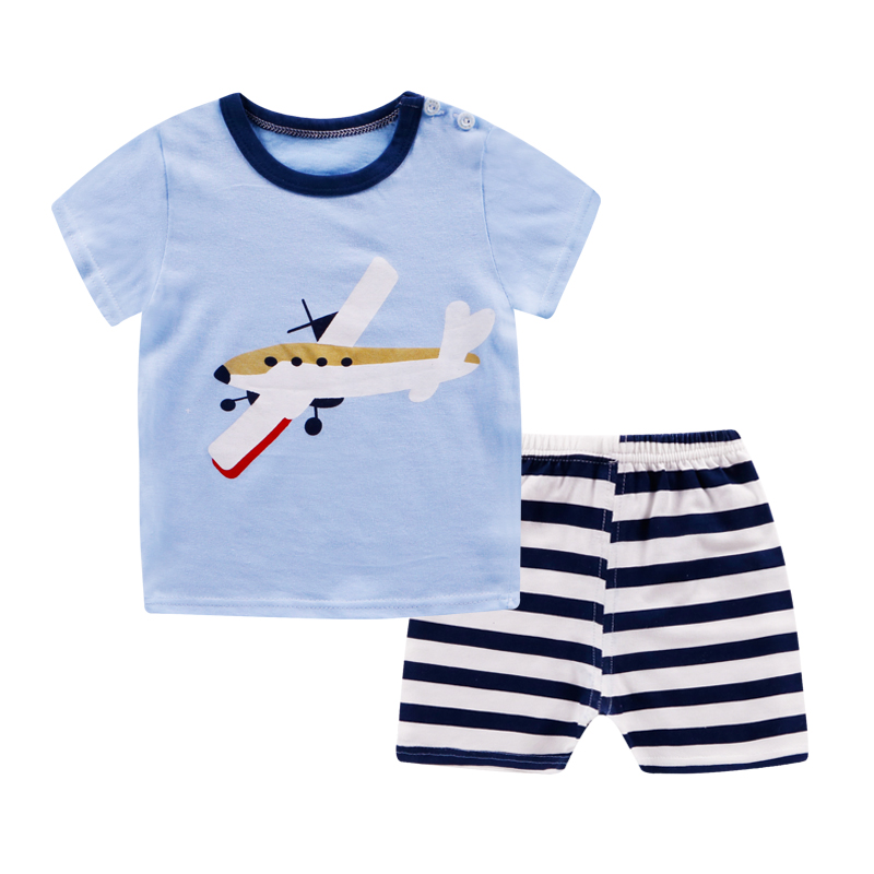 Blue airplane short sleeve suit