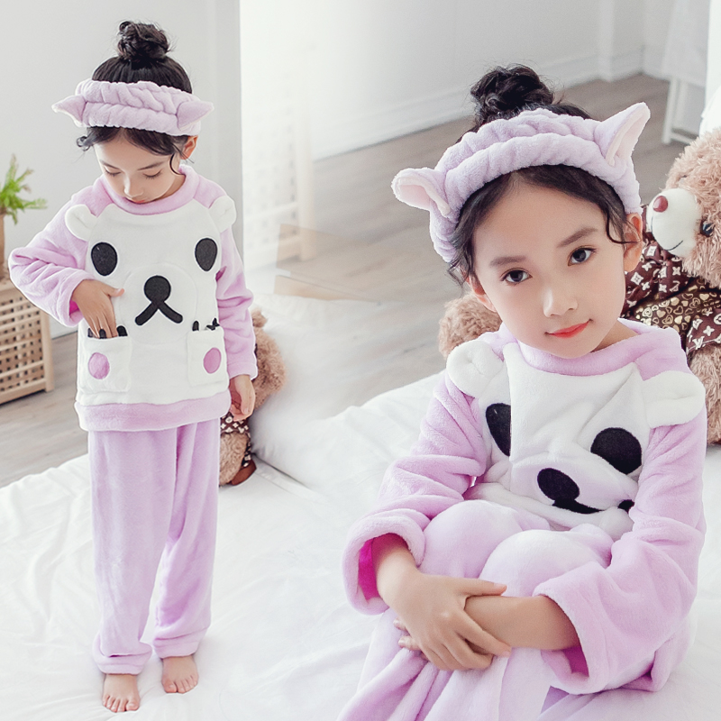 966a901b3b07 USD 44.32  Girls pajamas coral velvet thick autumn and winter ...