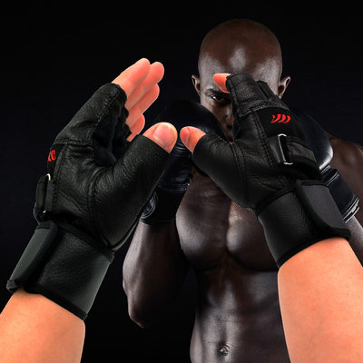 Cowhide gloves men's half finger equipment exercise fitness sports wrist protective gear equipment protective gloves dumbbell gloves