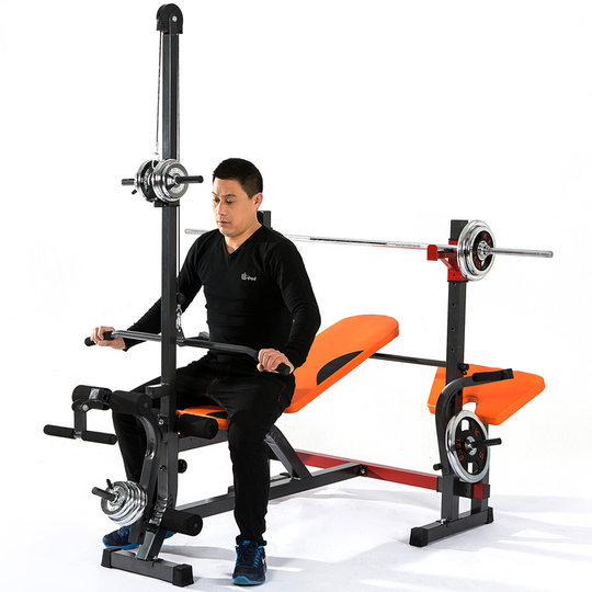 Multifunctional weight bench bench press squat rack professional barbell rack bracket home fitness equipment barbell set