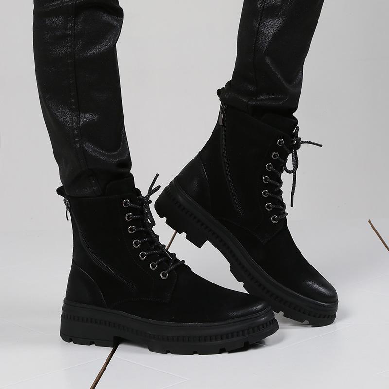 黑色工装韩版马丁靴男高帮英伦风中帮真皮潮流鞋靴子加绒皮靴男士