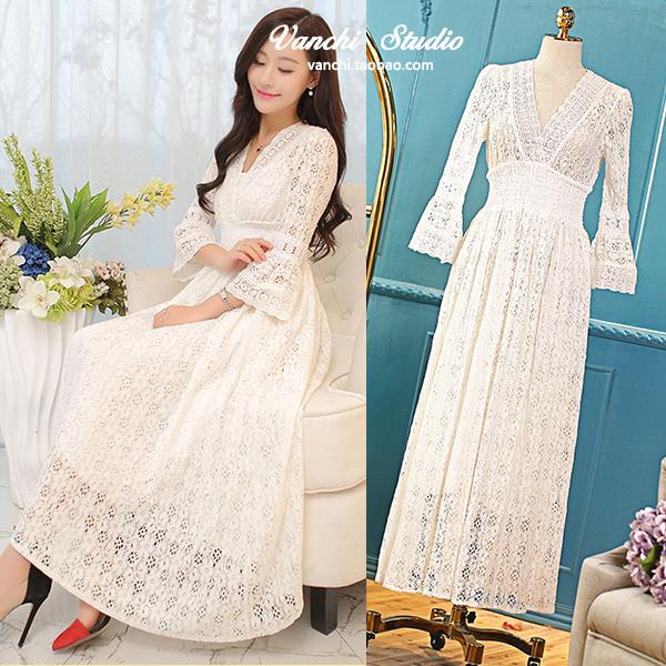 百系列◆欧洲站 蕾丝7分袖 优雅修身连衣裙