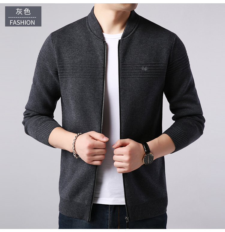 Áo len dệt kim nam đan len Hengyuanxiang mùa xuân và mùa thu áo khoác nam màu rắn giản dị xu hướng áo len nam trung niên - Cardigan