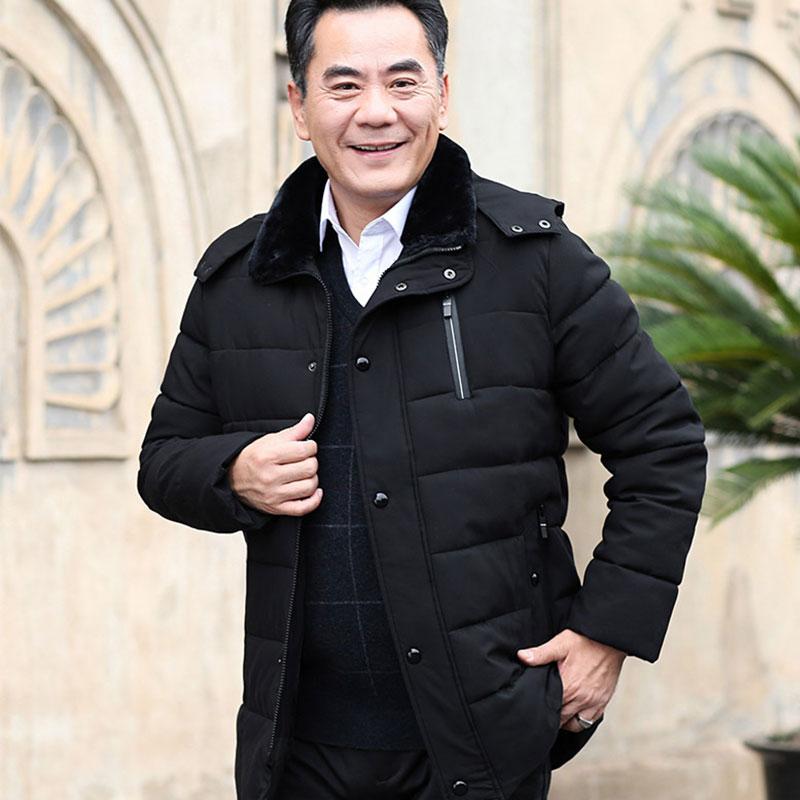 爸爸冬装外套中老年棉衣羽绒棉袄服加绒加厚中年人男装40岁50透气